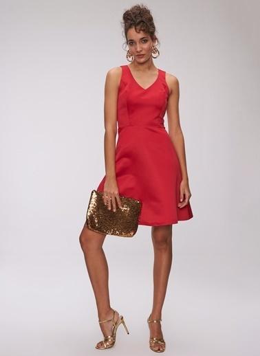 People By Fabrika Saten Mini Elbise Kırmızı